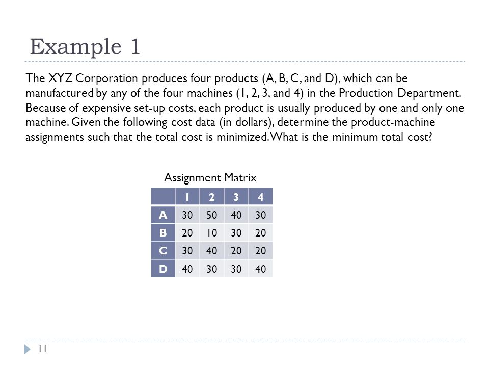 Example 1 11 The XYZ Corporation produces four products (A, B, C, and D), which can be manufactured by any of the four machines (1, 2, 3, and 4) in the Production Department.