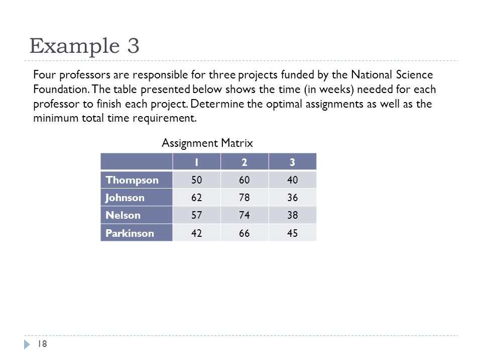 Example 3 18 Four professors are responsible for three projects funded by the National Science Foundation.