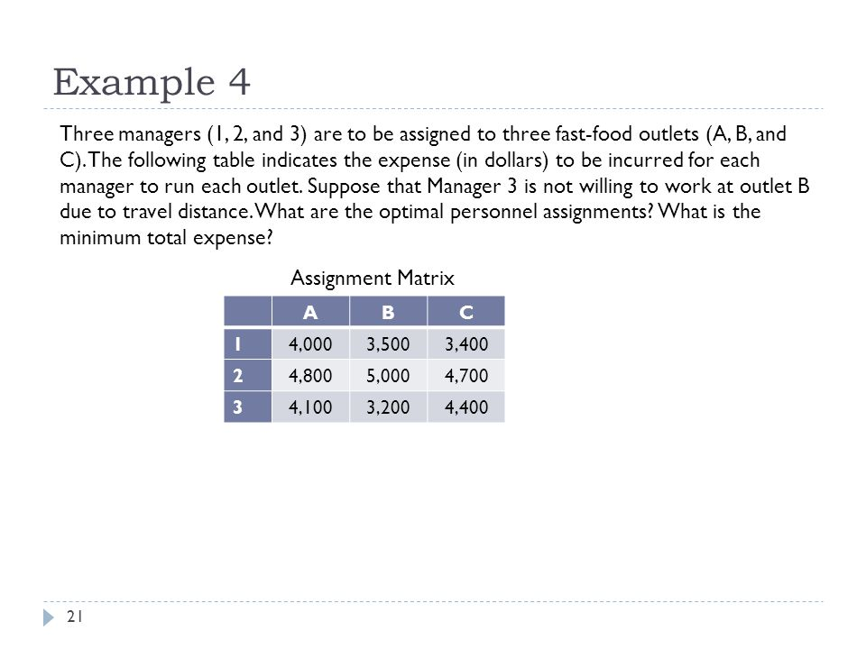 Example 4 21 Three managers (1, 2, and 3) are to be assigned to three fast-food outlets (A, B, and C).