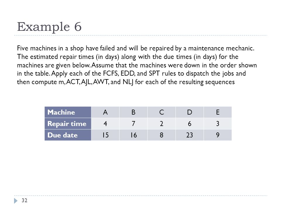 32 Example 6 Five machines in a shop have failed and will be repaired by a maintenance mechanic.