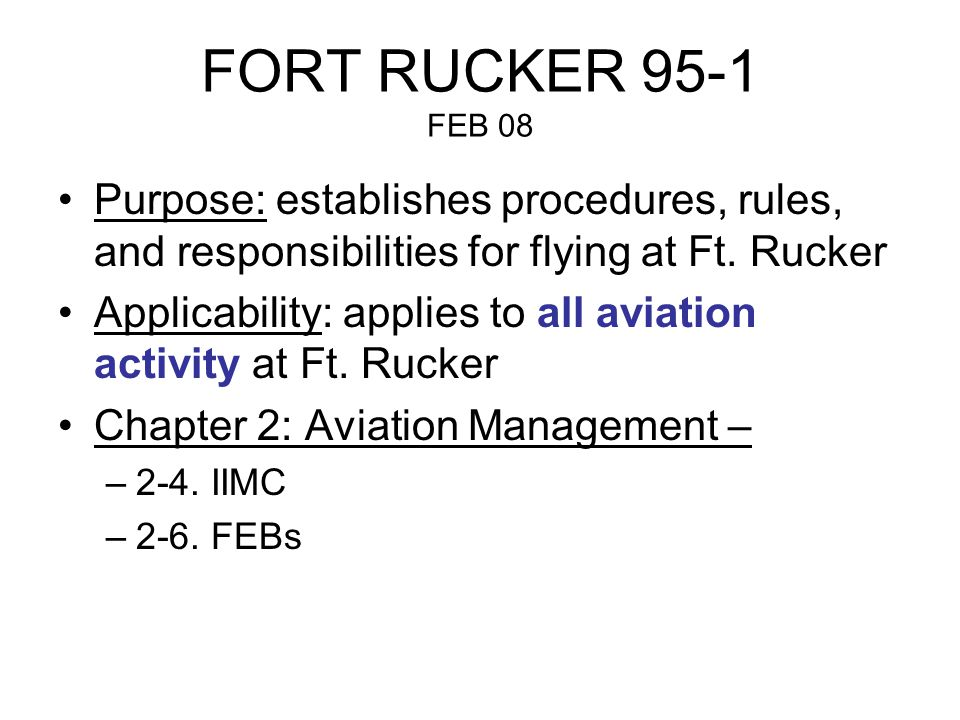 FORT RUCKER 95-1 Chapter 3 Operations and Safety –3-1.