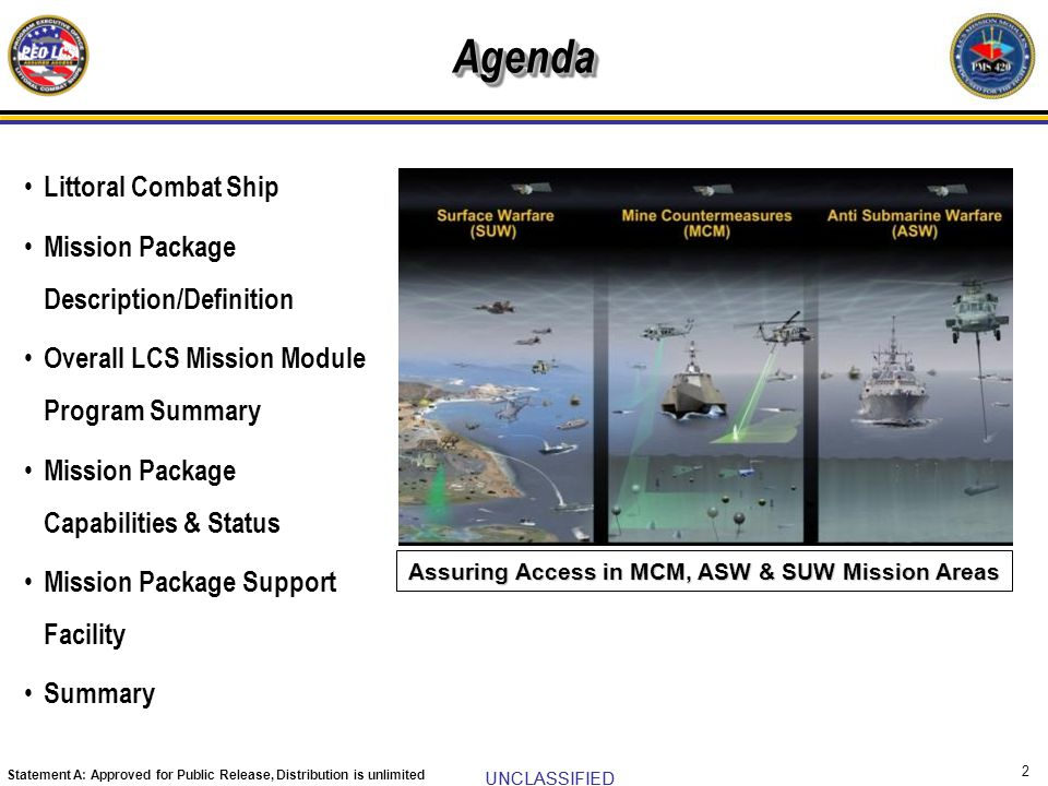 UNCLASSIFIED Statement A: Approved for Public Release, Distribution is unlimited 2 Agenda Littoral Combat Ship Mission Package Description/Definition