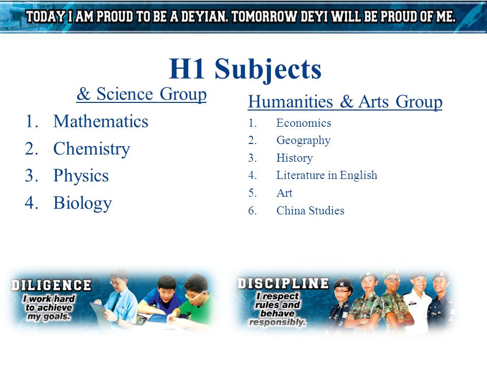 H1 Subjects Maths & Science Group 1.Mathematics 2.Chemistry 3.Physics 4.Biology Humanities & Arts Group 1.Economics 2.Geography 3.History 4.Literature