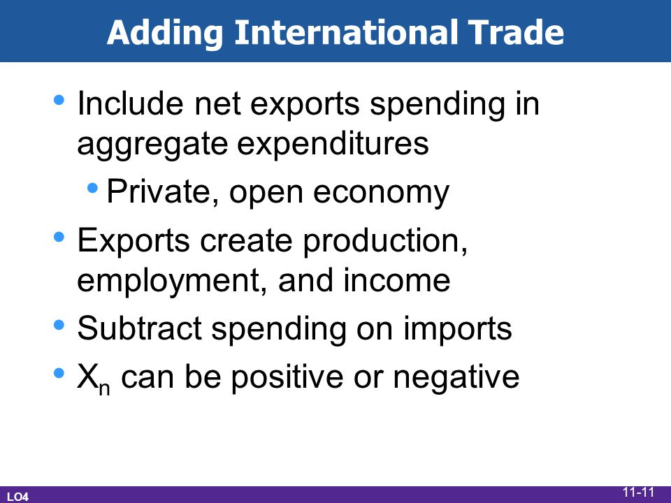 Adding International Trade Include net exports spending in aggregate expenditures Private, open economy Exports create production, employment, and income Subtract spending on imports X n can be positive or negative LO4 11-11
