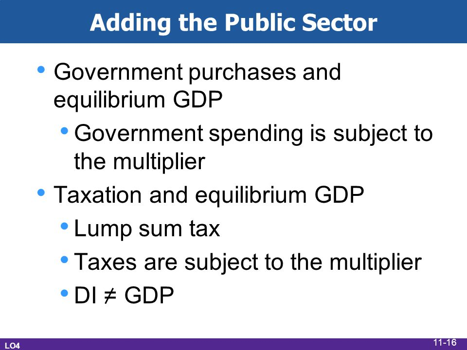Adding the Public Sector Government purchases and equilibrium GDP Government spending is subject to the multiplier Taxation and equilibrium GDP Lump sum tax Taxes are subject to the multiplier DI = GDP LO4 11-16