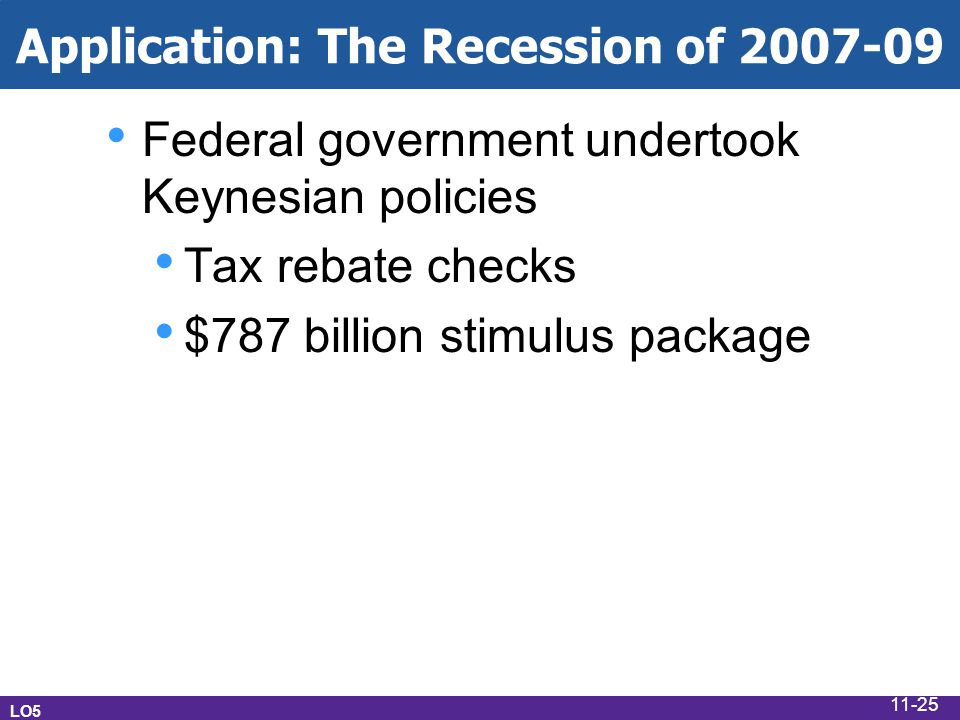 Application: The Recession of 2007-09 Federal government undertook Keynesian policies Tax rebate checks $787 billion stimulus package LO5 11-25