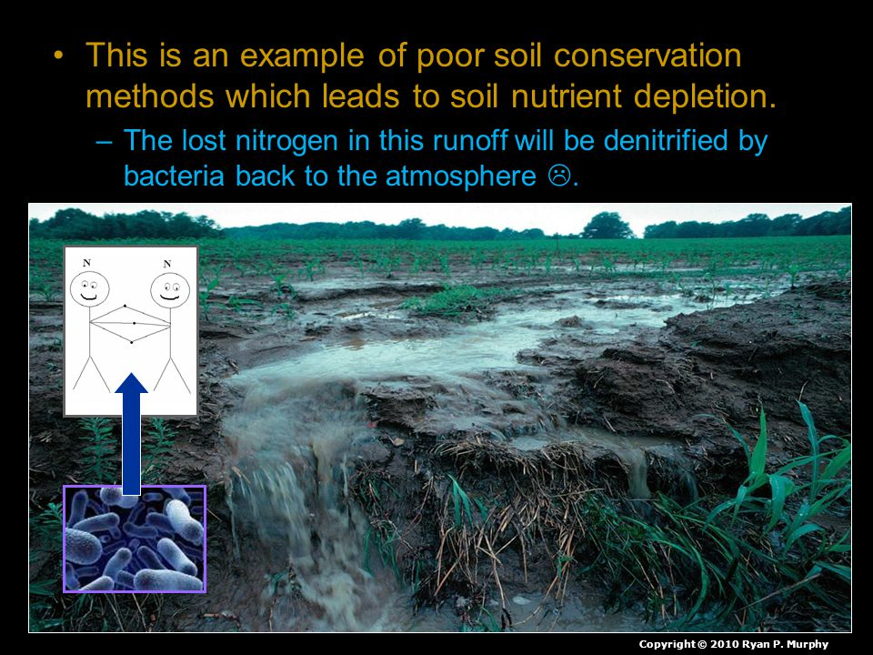 This is an example of poor soil conservation methods which leads to soil nutrient depletion.