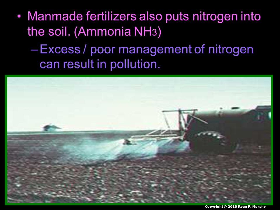 Manmade fertilizers also puts nitrogen into the soil.