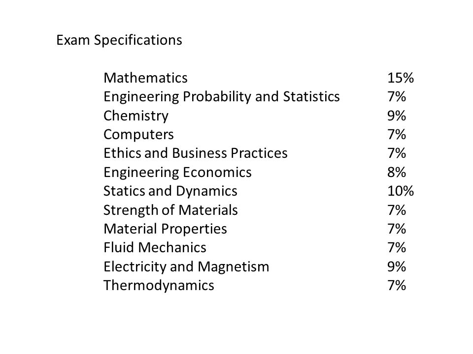 Exam Specifications Mathematics15% Engineering Probability and Statistics7% Chemistry9% Computers7% Ethics and Business Practices7% Engineering Econom