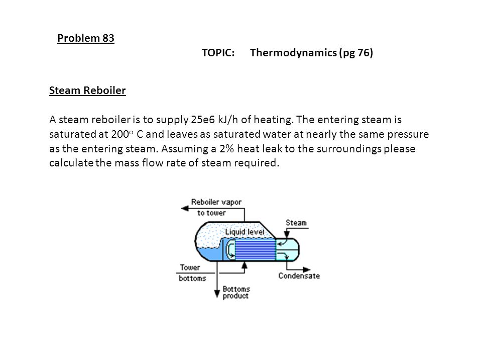 Problem 83 TOPIC: Thermodynamics (pg 76) Steam Reboiler A steam reboiler is to supply 25e6 kJ/h of heating. The entering steam is saturated at 200 o C