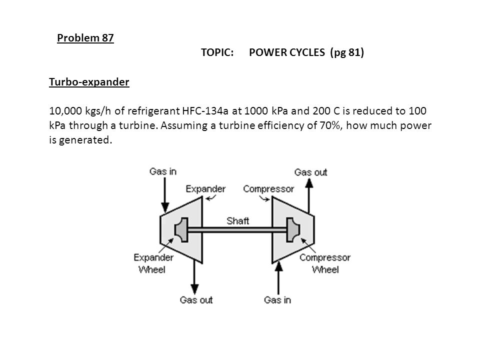 Problem 87 TOPIC: POWER CYCLES (pg 81) Turbo-expander 10,000 kgs/h of refrigerant HFC-134a at 1000 kPa and 200 C is reduced to 100 kPa through a turbi