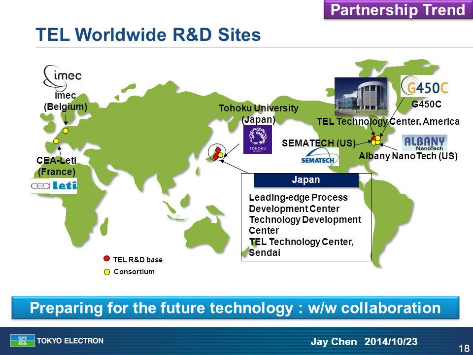 18 Jay Chen 2014/10/23 TEL Worldwide R&D Sites imec (Belgium) Japan SEMATECH (US) CEA-Leti (France) Albany NanoTech (US) TEL R&D base Consortium Leadi