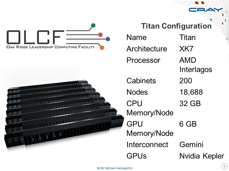 Titan Configuration NameTitan ArchitectureXK7 ProcessorAMD Interlagos Cabinets200 Nodes18,688 CPU Memory/Node 32 GB GPU Memory/Node 6 GB InterconnectG