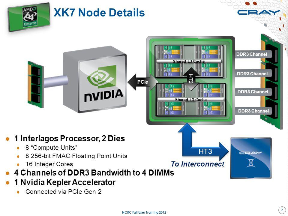 """DDR3 Channel XK7 Node Details ●1 Interlagos Processor, 2 Dies ● 8 """"Compute Units"""" ● 8 256-bit FMAC Floating Point Units ● 16 Integer Cores ●4 Channels"""