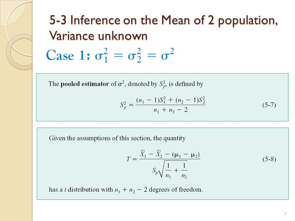 5-3 Inference on the Mean of 2 population, Variance unknown 7
