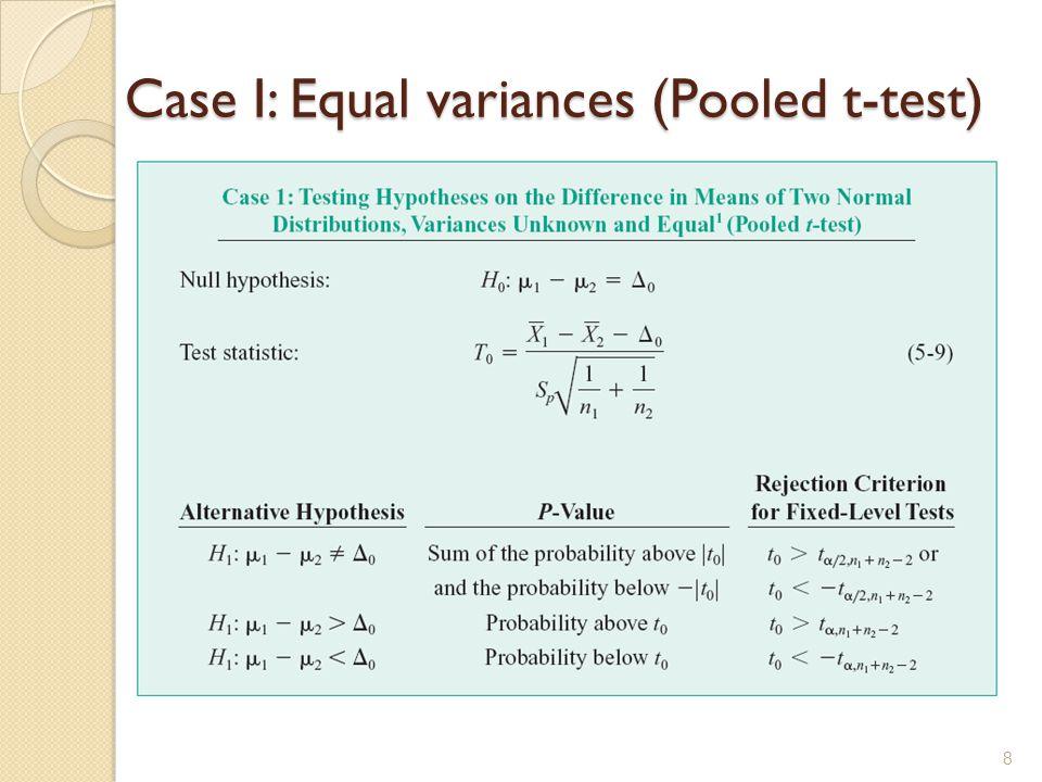Case I: Equal variances (Pooled t-test) 8