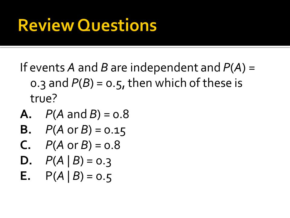 If events A and B are independent and P(A) = 0.3 and P(B) = 0.5, then which of these is true.