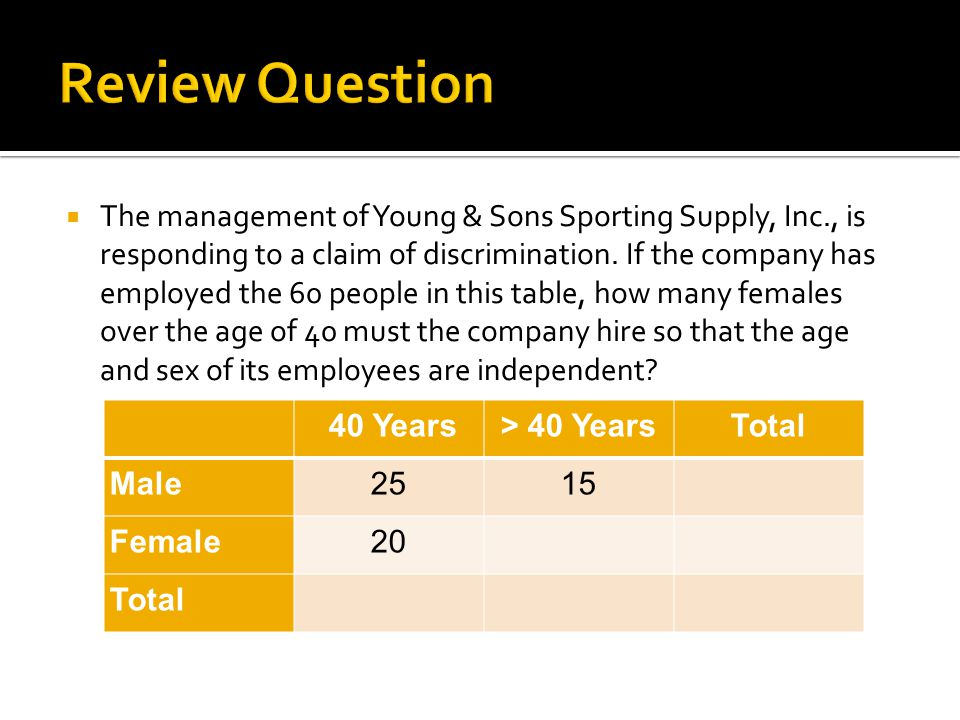  The management of Young & Sons Sporting Supply, Inc., is responding to a claim of discrimination. If the company has employed the 60 people in this