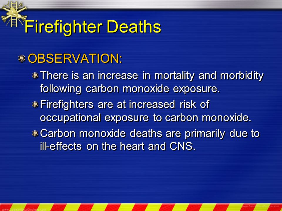 OBSERVATION: There is an increase in mortality and morbidity following carbon monoxide exposure.