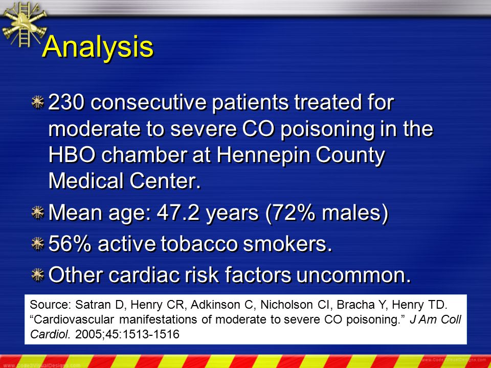 Analysis 230 consecutive patients treated for moderate to severe CO poisoning in the HBO chamber at Hennepin County Medical Center.