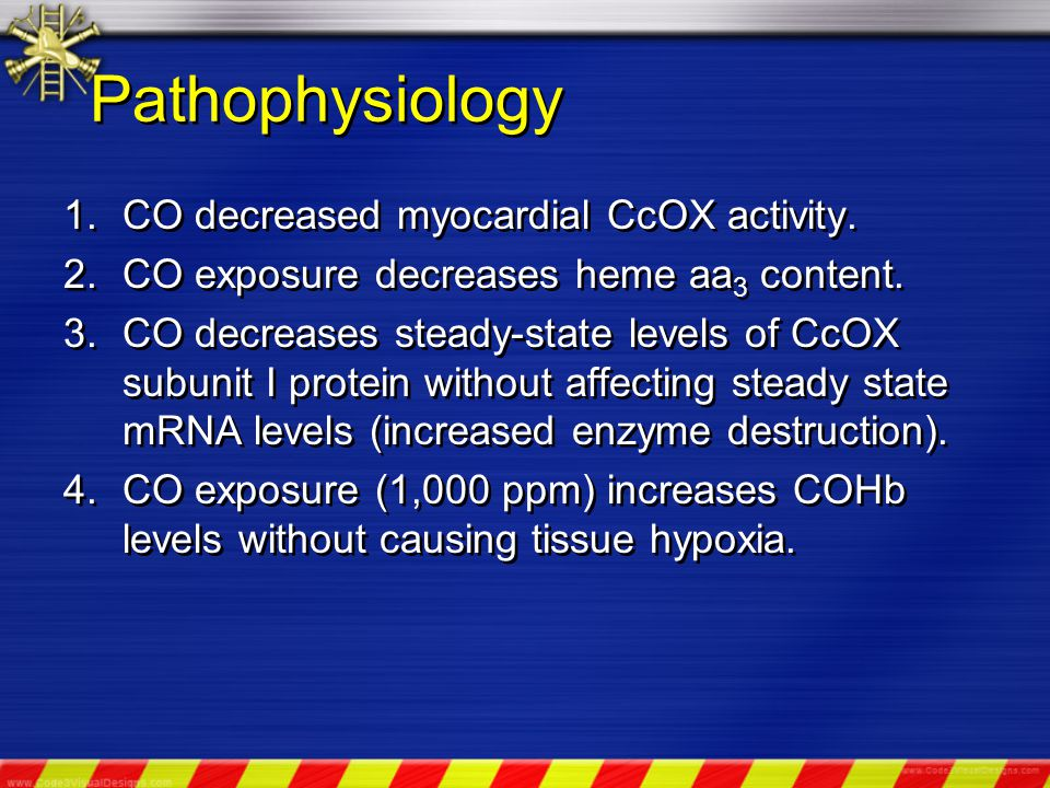 Pathophysiology 1.CO decreased myocardial CcOX activity.