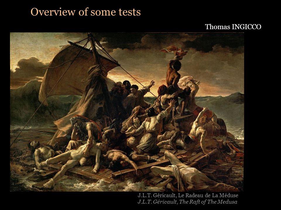 Overview of some tests Thomas INGICCO J.L.T. Géricault, Le Radeau de La Méduse J.L.T.