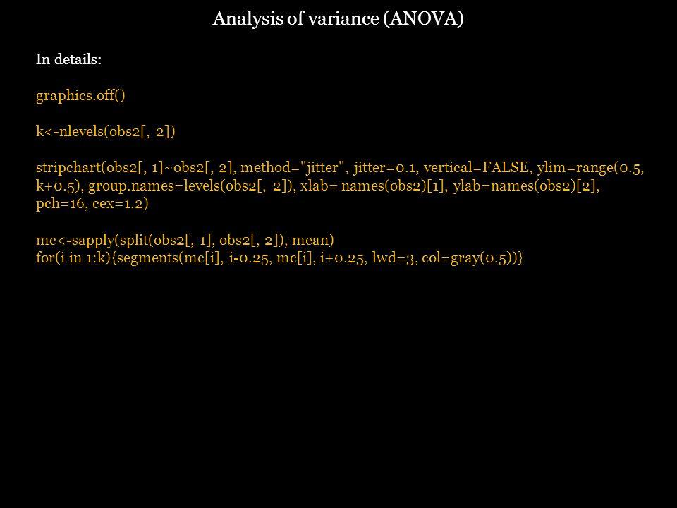 Analysis of variance (ANOVA) In details: graphics.off() k<-nlevels(obs2[, 2]) stripchart(obs2[, 1]~obs2[, 2], method= jitter , jitter=0.1, vertical=FALSE, ylim=range(0.5, k+0.5), group.names=levels(obs2[, 2]), xlab= names(obs2)[1], ylab=names(obs2)[2], pch=16, cex=1.2) mc<-sapply(split(obs2[, 1], obs2[, 2]), mean) for(i in 1:k){segments(mc[i], i-0.25, mc[i], i+0.25, lwd=3, col=gray(0.5))}