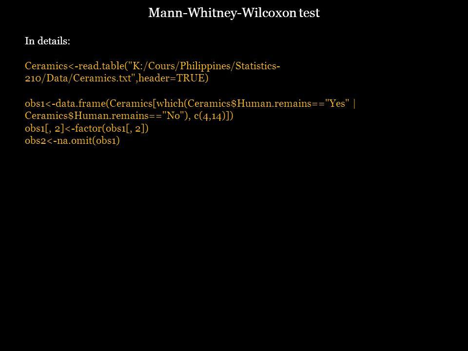 In details: Ceramics<-read.table( K:/Cours/Philippines/Statistics- 210/Data/Ceramics.txt ,header=TRUE) obs1<-data.frame(Ceramics[which(Ceramics$Human.remains== Yes | Ceramics$Human.remains== No ), c(4,14)]) obs1[, 2]<-factor(obs1[, 2]) obs2<-na.omit(obs1) Mann-Whitney-Wilcoxon test