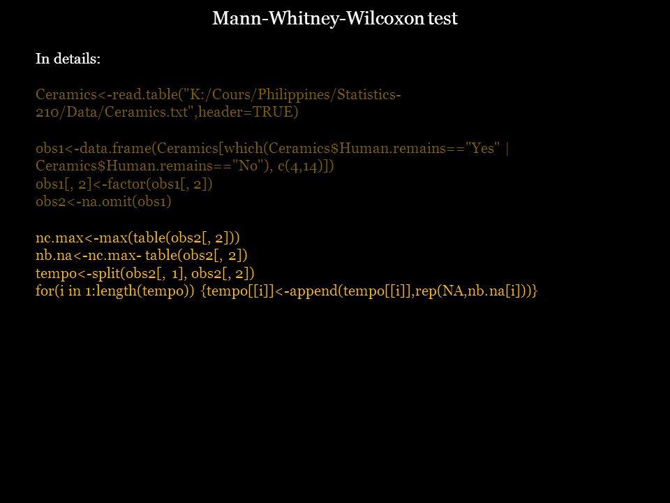 In details: Ceramics<-read.table( K:/Cours/Philippines/Statistics- 210/Data/Ceramics.txt ,header=TRUE) obs1<-data.frame(Ceramics[which(Ceramics$Human.remains== Yes | Ceramics$Human.remains== No ), c(4,14)]) obs1[, 2]<-factor(obs1[, 2]) obs2<-na.omit(obs1) nc.max<-max(table(obs2[, 2])) nb.na<-nc.max- table(obs2[, 2]) tempo<-split(obs2[, 1], obs2[, 2]) for(i in 1:length(tempo)) {tempo[[i]]<-append(tempo[[i]],rep(NA,nb.na[i]))} Mann-Whitney-Wilcoxon test