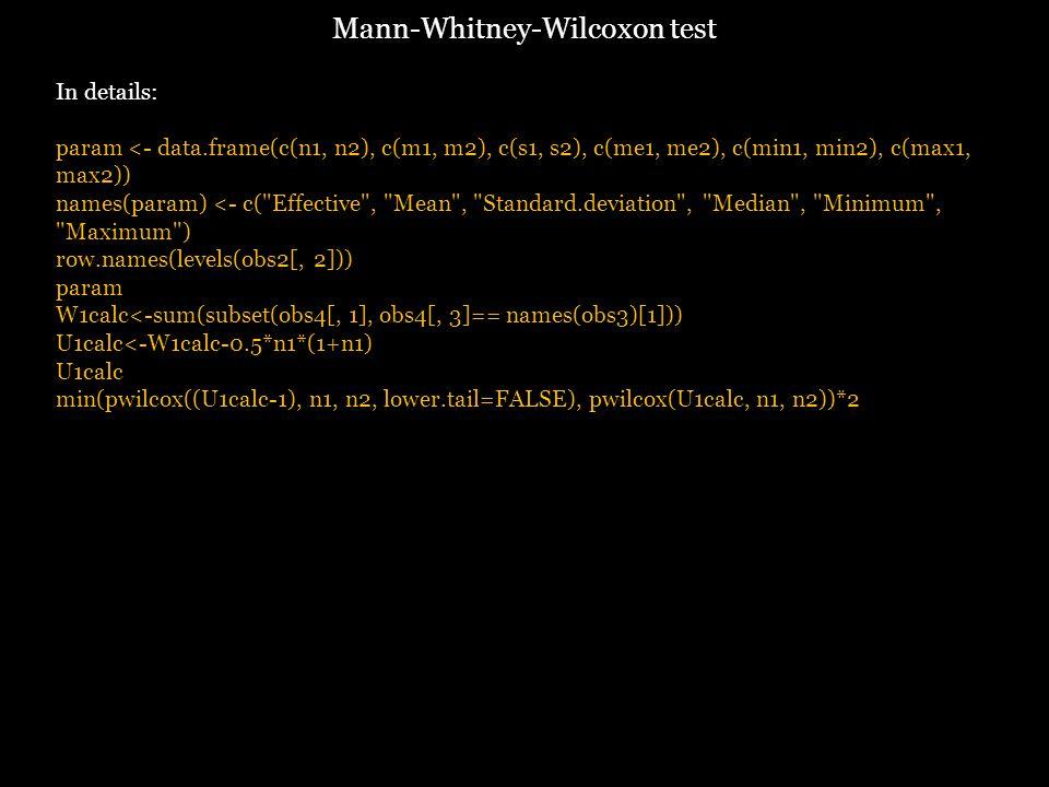 In details: param <- data.frame(c(n1, n2), c(m1, m2), c(s1, s2), c(me1, me2), c(min1, min2), c(max1, max2)) names(param) <- c( Effective , Mean , Standard.deviation , Median , Minimum , Maximum ) row.names(levels(obs2[, 2])) param W1calc<-sum(subset(obs4[, 1], obs4[, 3]== names(obs3)[1])) U1calc<-W1calc-0.5*n1*(1+n1) U1calc min(pwilcox((U1calc-1), n1, n2, lower.tail=FALSE), pwilcox(U1calc, n1, n2))*2 Mann-Whitney-Wilcoxon test