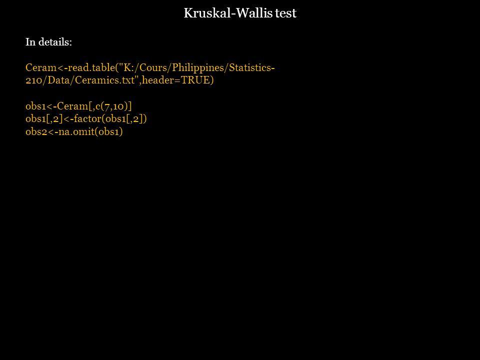 In details: Ceram<-read.table( K:/Cours/Philippines/Statistics- 210/Data/Ceramics.txt ,header=TRUE) obs1<-Ceram[,c(7,10)] obs1[,2]<-factor(obs1[,2]) obs2<-na.omit(obs1) Kruskal-Wallis test