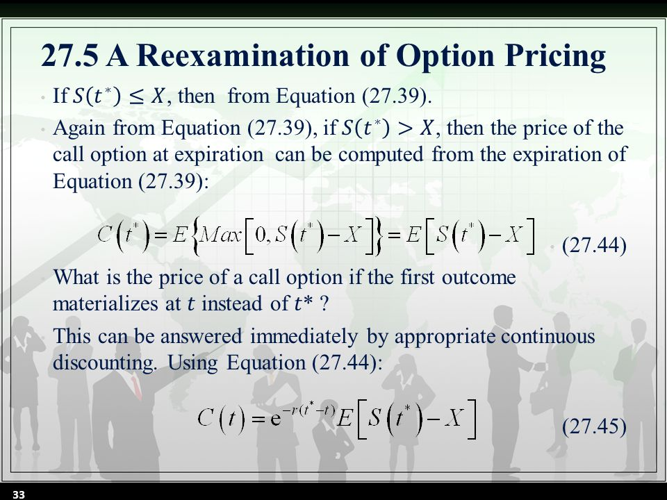 33 27.5 A Reexamination of Option Pricing