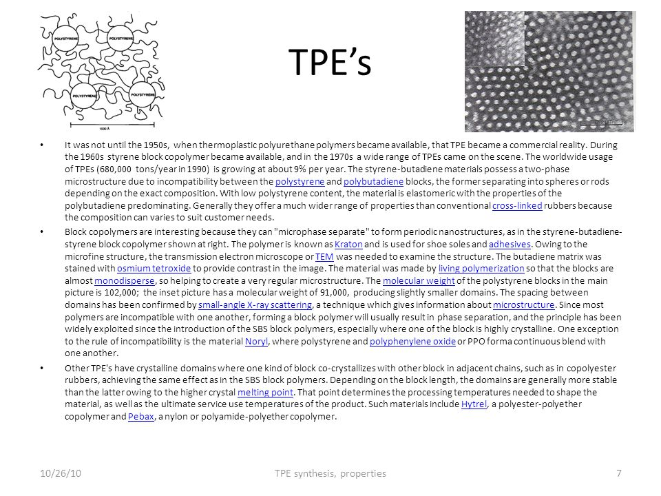 TPE's It was not until the 1950s, when thermoplastic polyurethane polymers became available, that TPE became a commercial reality. During the 1960s st