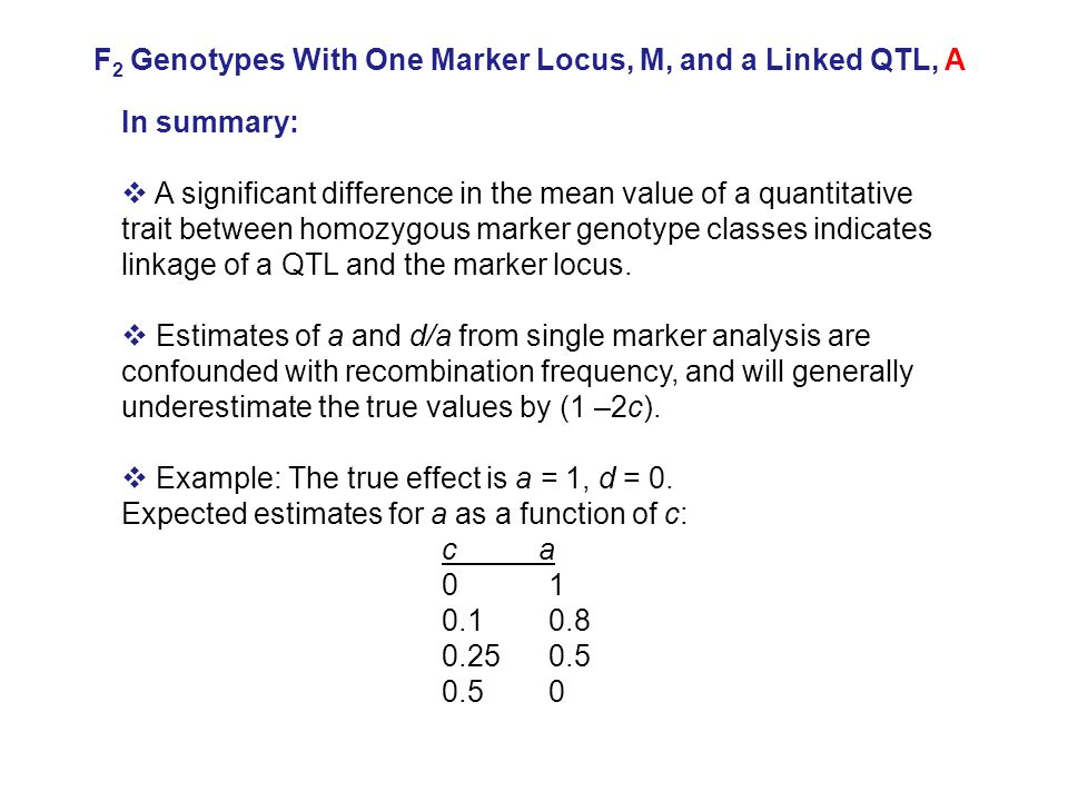 In summary:  A significant difference in the mean value of a quantitative trait between homozygous marker genotype classes indicates linkage of a QTL and the marker locus.
