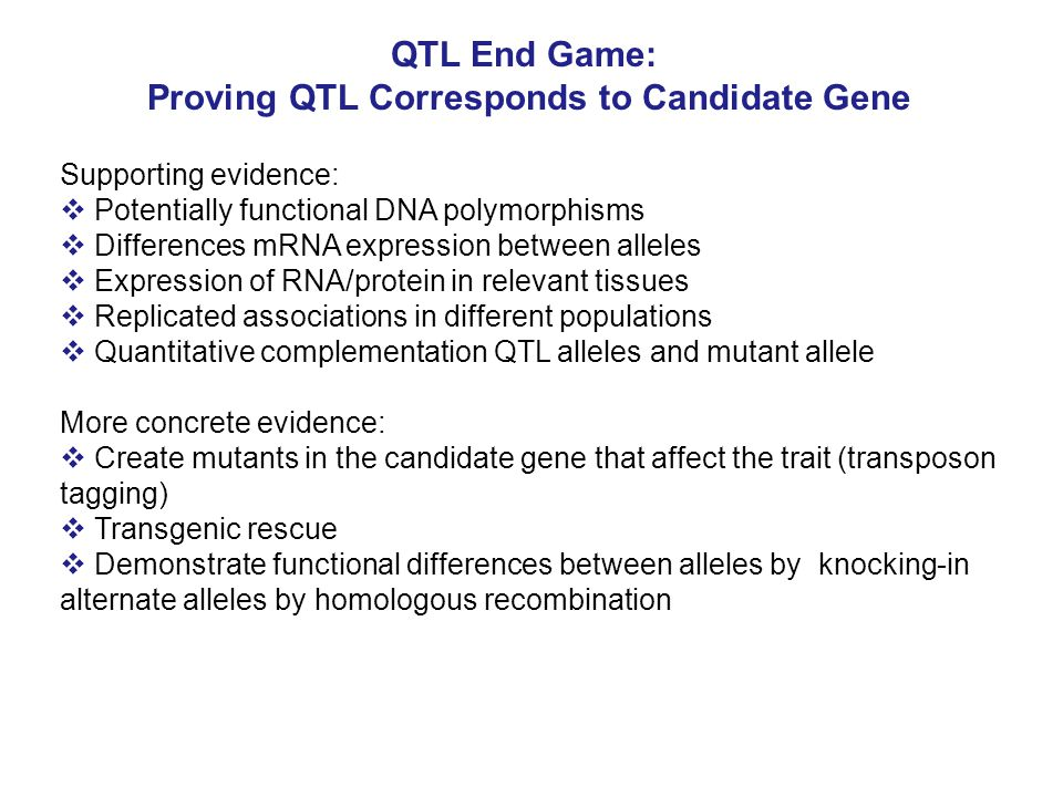 QTL End Game: Proving QTL Corresponds to Candidate Gene Supporting evidence:  Potentially functional DNA polymorphisms  Differences mRNA expression between alleles  Expression of RNA/protein in relevant tissues  Replicated associations in different populations  Quantitative complementation QTL alleles and mutant allele More concrete evidence:  Create mutants in the candidate gene that affect the trait (transposon tagging)  Transgenic rescue  Demonstrate functional differences between alleles by knocking-in alternate alleles by homologous recombination