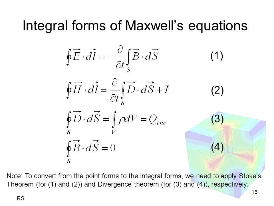 RS 15 Integral forms of Maxwell's equations Note: To convert from the point forms to the integral forms, we need to apply Stoke's Theorem (for (1) and (2)) and Divergence theorem (for (3) and (4)), respectively.