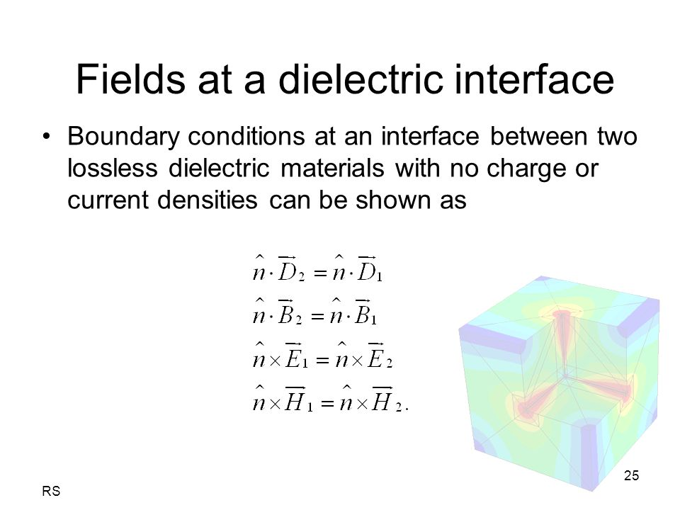 RS 25 Fields at a dielectric interface Boundary conditions at an interface between two lossless dielectric materials with no charge or current densities can be shown as