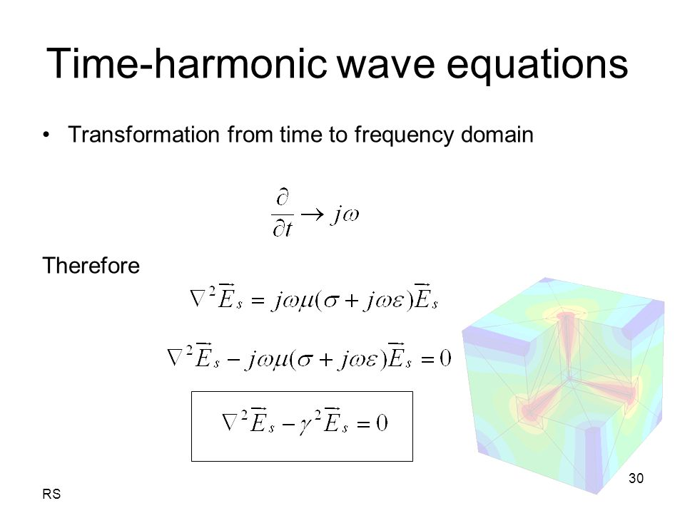 RS 30 Time-harmonic wave equations Transformation from time to frequency domain Therefore