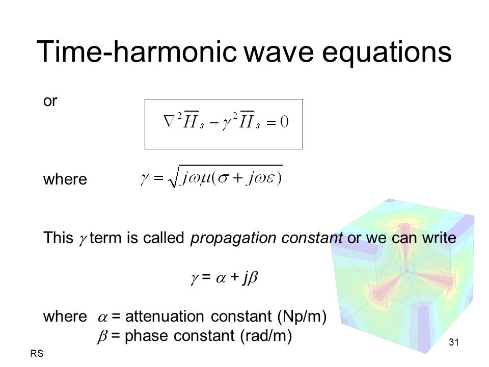 RS 31 Time-harmonic wave equations or where This  term is called propagation constant or we can write  =  + j  where  = attenuation constant (Np/m)  = phase constant (rad/m)