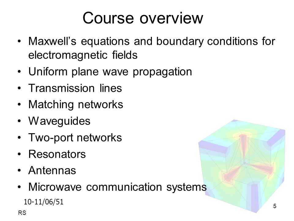 10-11/06/51 RS 5 Course overview Maxwell's equations and boundary conditions for electromagnetic fields Uniform plane wave propagation Transmission lines Matching networks Waveguides Two-port networks Resonators Antennas Microwave communication systems