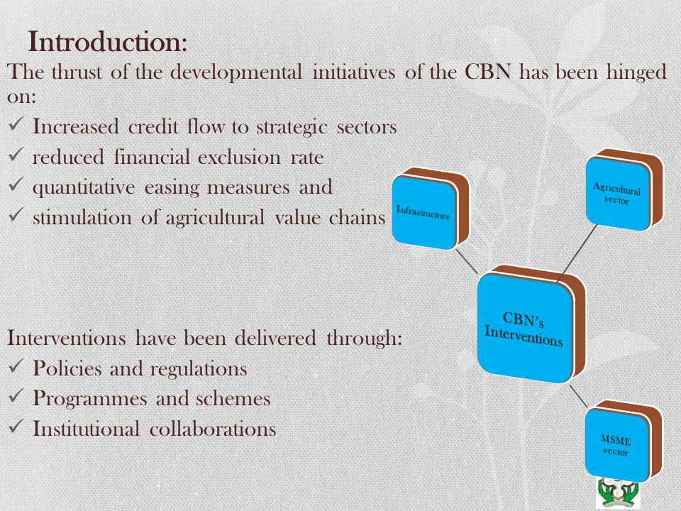 Introduction: The thrust of the developmental initiatives of the CBN has been hinged on: Increased credit flow to strategic sectors reduced financial exclusion rate quantitative easing measures and stimulation of agricultural value chains Interventions have been delivered through: Policies and regulations Programmes and schemes Institutional collaborations