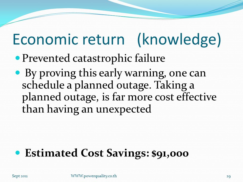 Economic return (knowledge) Prevented catastrophic failure By proving this early warning, one can schedule a planned outage.