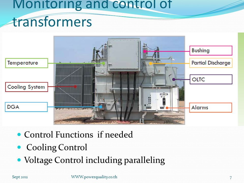 Monitoring and control of transformers Control Functions if needed Cooling Control Voltage Control including paralleling Sept 2011WWW.powerquality.co.th7