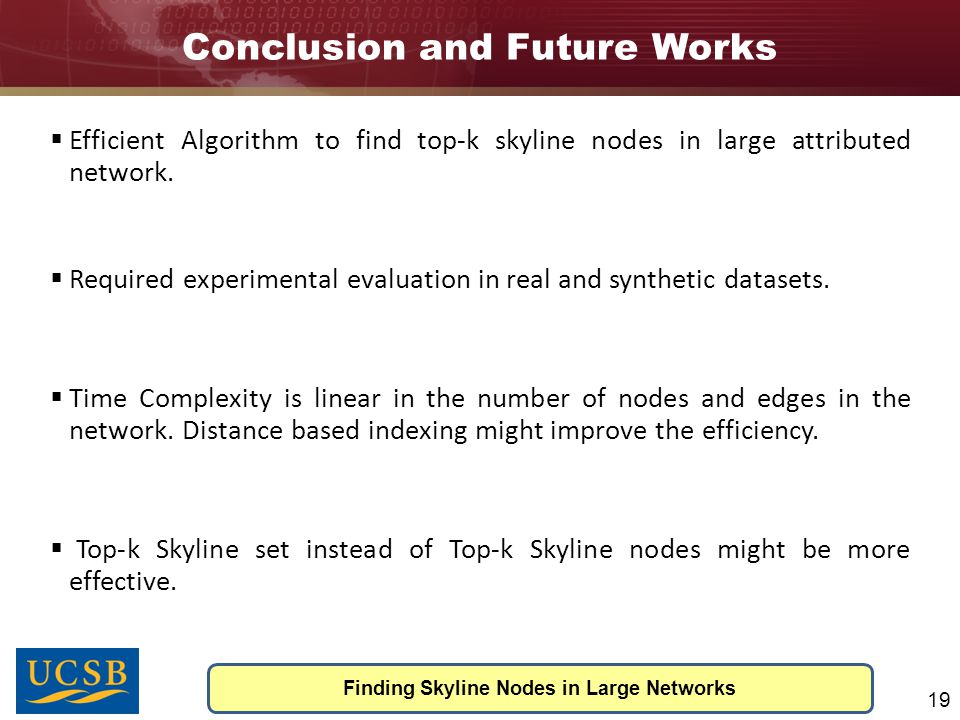 Conclusion and Future Works Finding Skyline Nodes in Large Networks 19  DC(u 4 ) = D(abc)-T(abc)-T(ab)-T(ac)-T(bc)-T(a)-T(b)-T(c)-1 = 3  Top-k Buffer to store top-k skyline nodes.