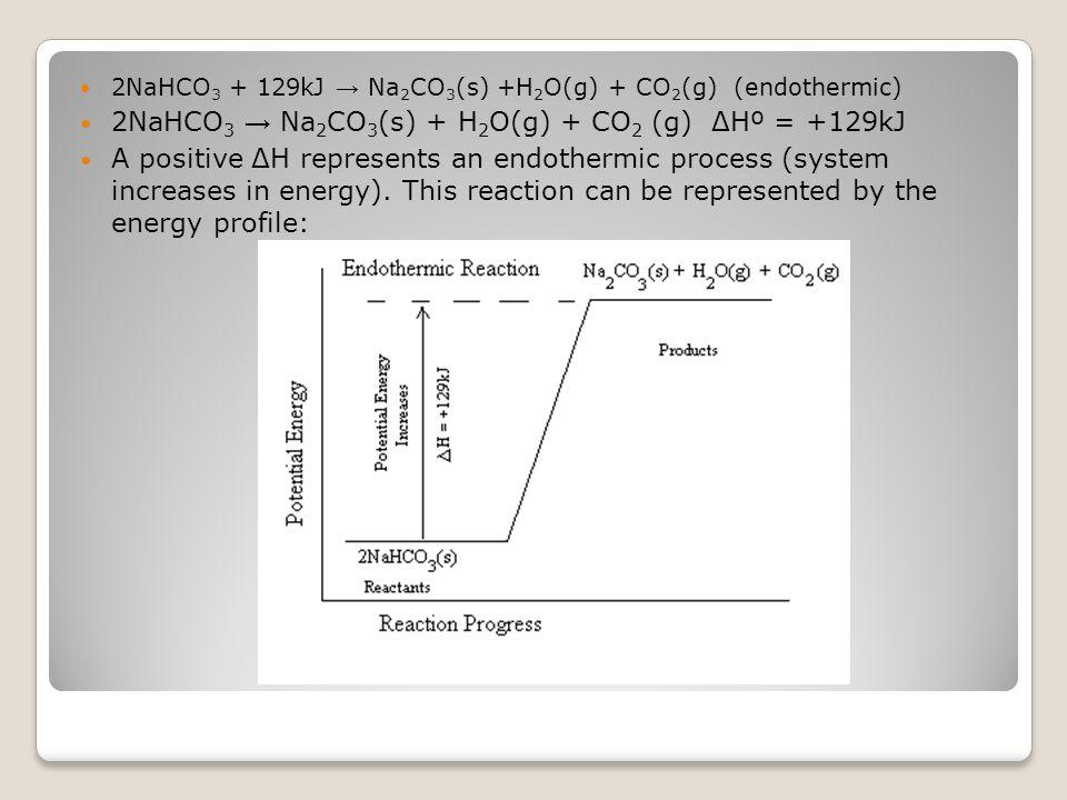 2NaHCO 3 + 129kJ → Na 2 CO 3 (s) +H 2 O(g) + CO 2 (g) (endothermic) 2NaHCO 3 → Na 2 CO 3 (s) + H 2 O(g) + CO 2 (g) ΔHº = +129kJ A positive ΔH represen