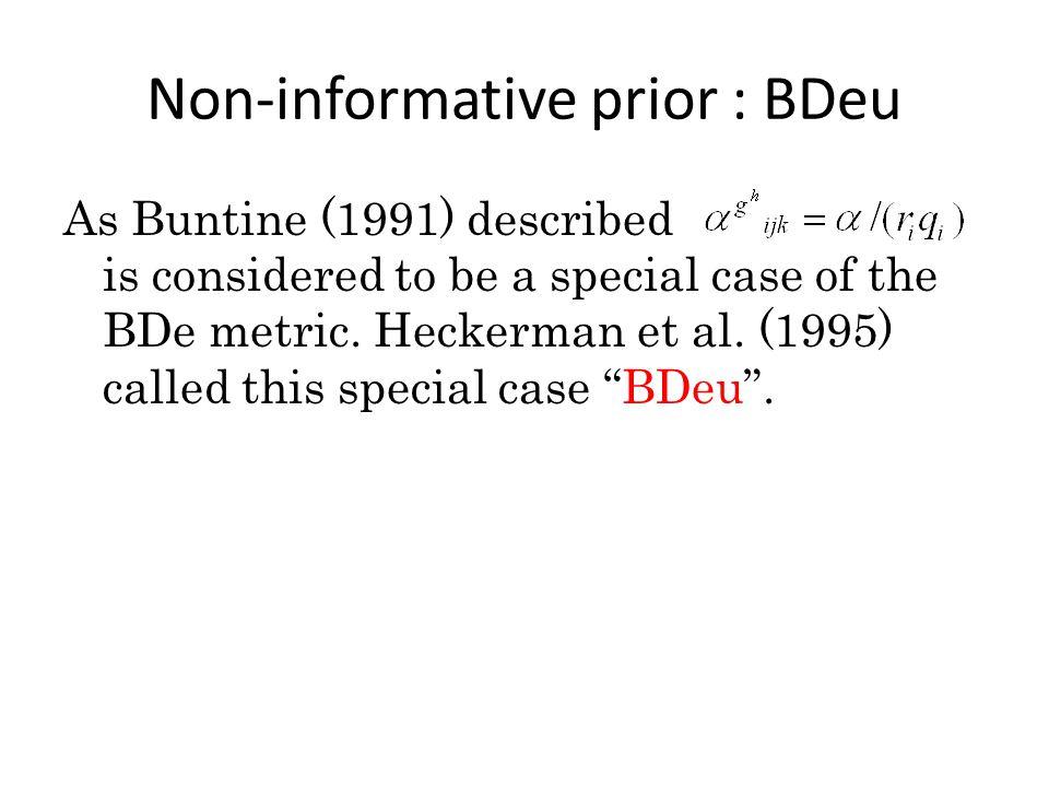 Problems of BDeu BDeu is the most popular Bayesian network score.