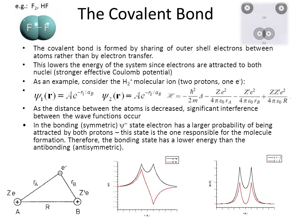 The covalent bond is formed by sharing of outer shell electrons between atoms rather than by electron transfer. This lowers the energy of the system s