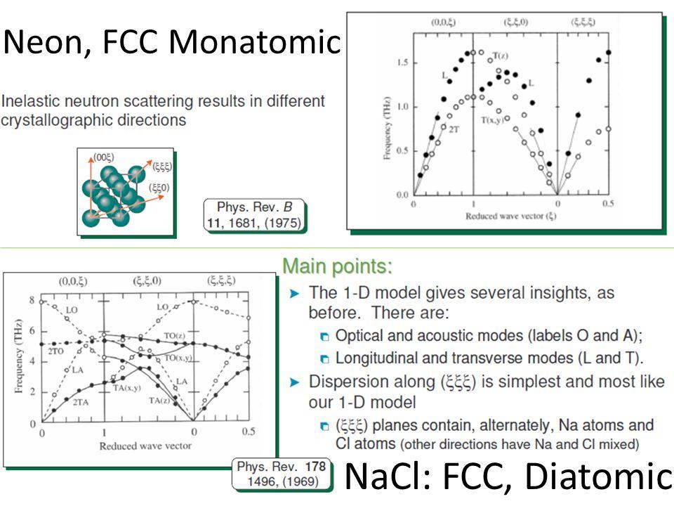 NaCl: FCC, Diatomic Neon, FCC Monatomic