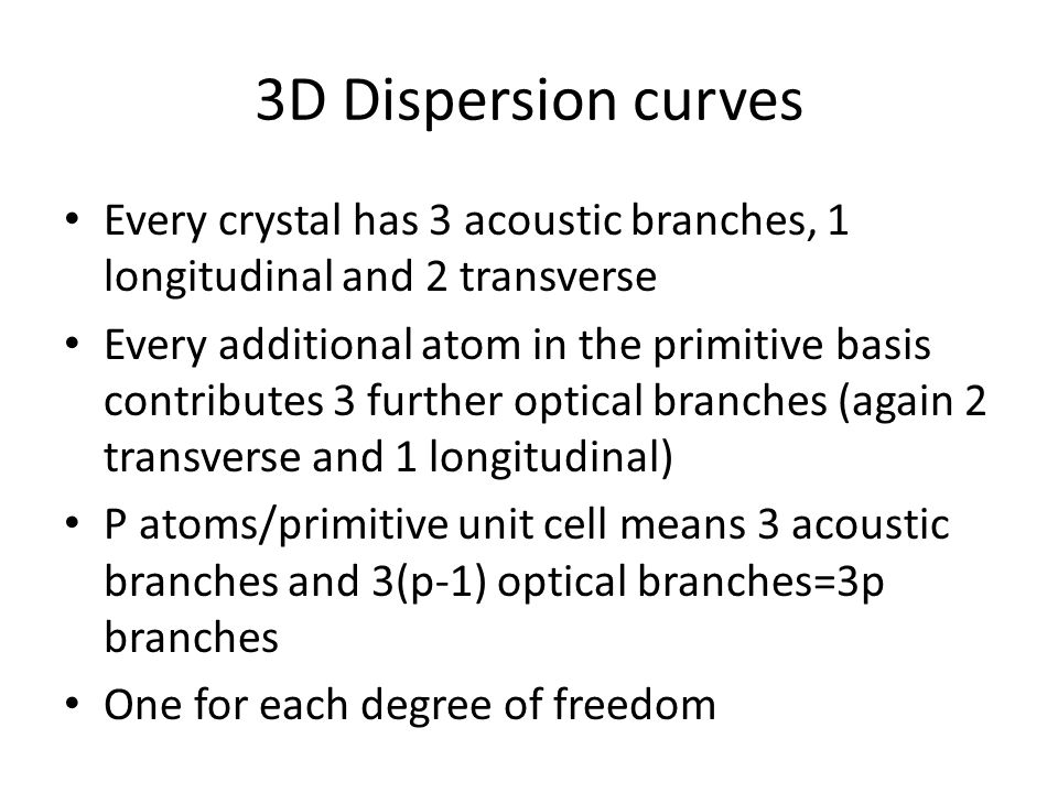 3D Dispersion curves Every crystal has 3 acoustic branches, 1 longitudinal and 2 transverse Every additional atom in the primitive basis contributes 3