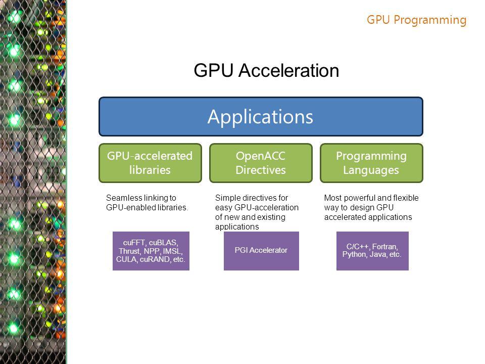 GPU Programming GPU Acceleration Applications GPU-accelerated libraries OpenACC Directives Programming Languages Seamless linking to GPU-enabled libraries.